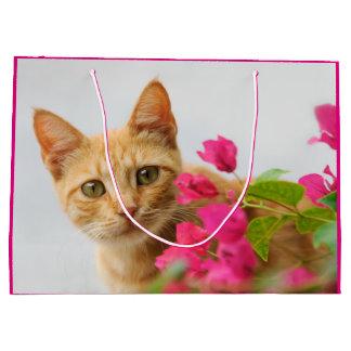 Grand Sac Cadeau Chaton mignon de chat de gingembre vous observant