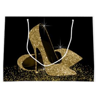 Grand Sac Cadeau Chaussures noires de talon haut de scintillement
