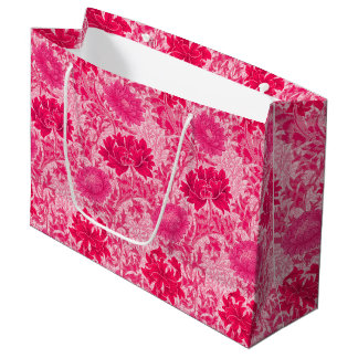 Grand Sac Cadeau Chrysanthèmes de William Morris, rose de fuchsia