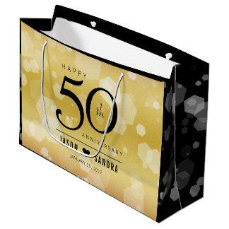 Grand Sac Cadeau Cinquantième anniversaire de mariage d'or élégant