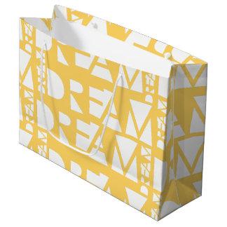 Grand Sac Cadeau Conception géométrique rêveuse jaune de