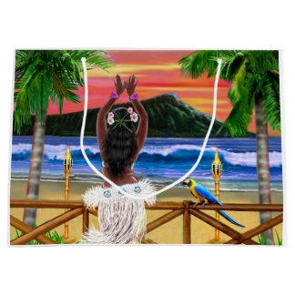 Grand Sac Cadeau Danseur hawaïen de danse polynésienne de coucher