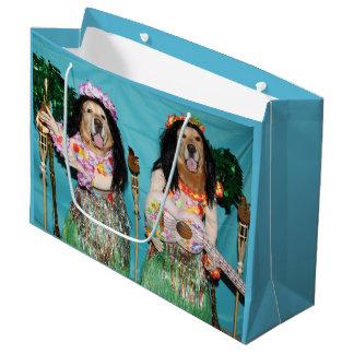 Grand Sac Cadeau Danseurs de danse polynésienne de golden retriever