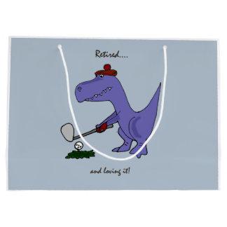 Grand Sac Cadeau Dinosaure retiré de Trex jouant au golf