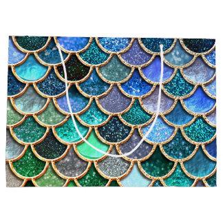 Grand Sac Cadeau Échelles bleues multicolores de sirène de parties