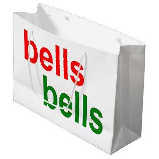 Grand Sac Cadeau Expression rouge et verte de mot de Noël de Bells