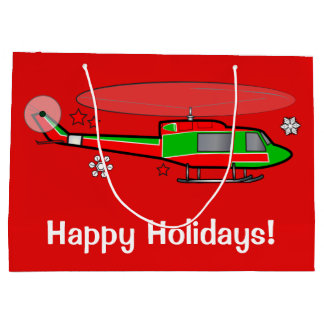 Grand Sac Cadeau Hélicoptère de Noël dans la neige