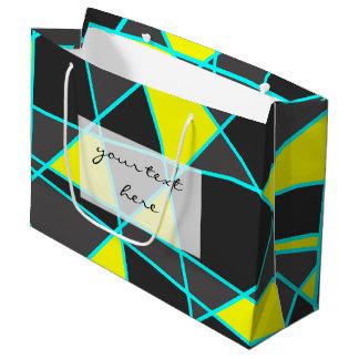 Grand Sac Cadeau jaune au néon lumineux géométrique et en bon état