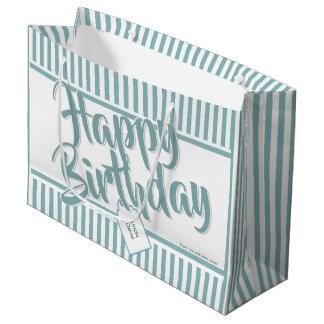 Grand Sac Cadeau L'Aqua minimal/blanc barre le joyeux anniversaire