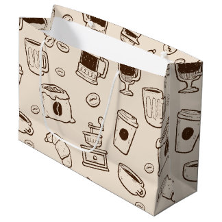 Grand Sac Cadeau Les grains de café de Brown ont illustré le motif