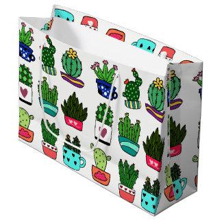 Grand Sac Cadeau Les plantes de cactus en grand cadeau de pot