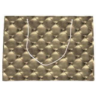 Grand Sac Cadeau Luxe métallique en cuir tufté d'or de sépia