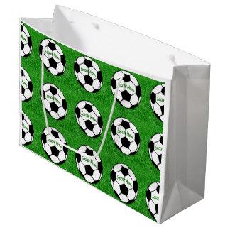 Grand Sac Cadeau Maman du football - pelouse