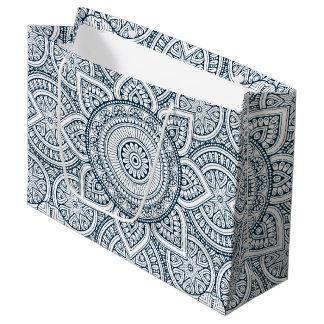 Grand Sac Cadeau Mandala floral blanc bleu géométrique