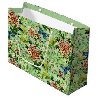 Grand Sac Cadeau Marguerites et papillons d'aquarelle
