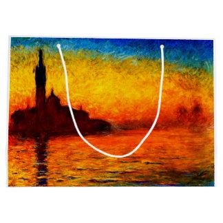 Grand Sac Cadeau Monet-Coucher du soleil de Claude à Venise