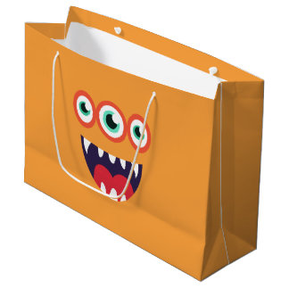 Grand Sac Cadeau Monstre orange