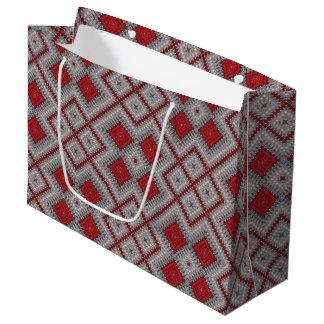 Grand Sac Cadeau Motif abstrait géométrique rouge et gris vintage