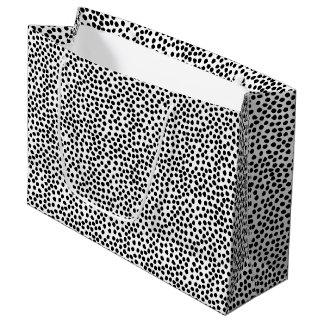 Grand Sac Cadeau Motif de points noir et blanc d'encre