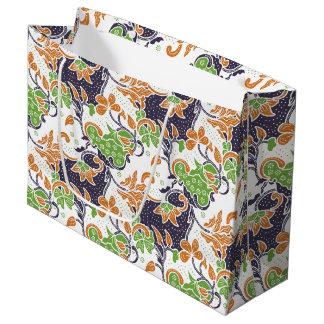 Grand Sac Cadeau Motif floral artistique de batik de vignes