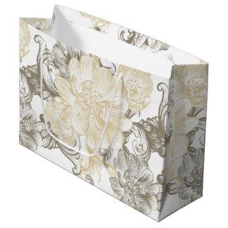 Grand Sac Cadeau Motif floral beige victorien vintage de vignes