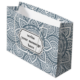 Grand Sac Cadeau Motif floral blanc bleu géométrique de mandala
