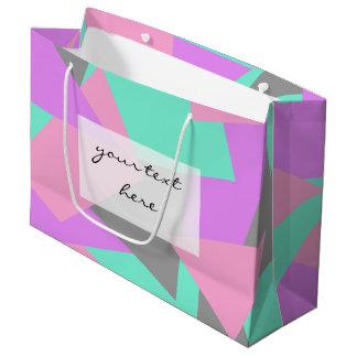 Grand Sac Cadeau motif géométrique coloré de bloc élégant de