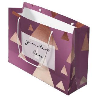 Grand Sac Cadeau motif géométrique de triangles d'or rose élégant
