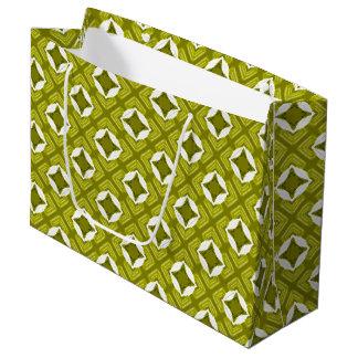 Grand Sac Cadeau Motif géométrique de vert de moutarde et blanc