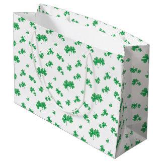 Grand Sac Cadeau Motif irlandais vert de shamrock de gradient