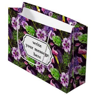 Grand Sac Cadeau Motif tropical pourpre noir d'aquarelle de flore