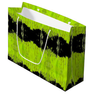 Grand Sac Cadeau Motif vert et noir de kiwi
