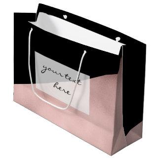 Grand Sac Cadeau noir rose d'or de faux moderne élégant géométrique