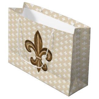 Grand Sac Cadeau Or et French Fleur De Lis blanc de Nola