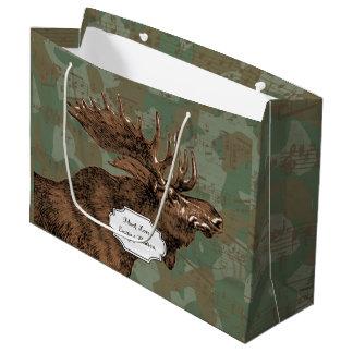 Grand Sac Cadeau Orignaux sur le camouflage