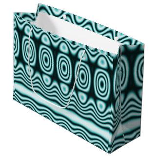 Grand Sac Cadeau Ornement géométrique de turquoise bleue