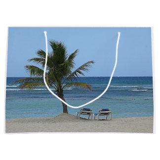 Grand Sac Cadeau Palmier sur la plage