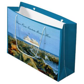 Grand Sac Cadeau Paysage marin avec le bateau de croisière