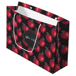 Grand Sac Cadeau Pommes rouges blanches sur l'étiquette noir de