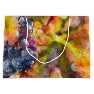 Grand Sac Cadeau Raisins de cuve colorés sur la vigne