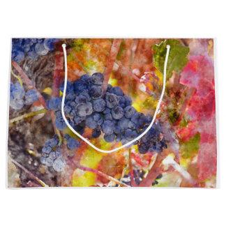 Grand Sac Cadeau Raisins de vin rouge sur la vigne