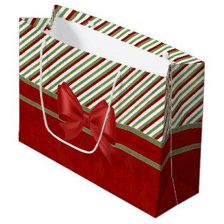 Grand Sac Cadeau Rayures et arc de sucrerie de rouge riche