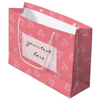 Grand Sac Cadeau rose en pastel de motif blanc girly élégant de
