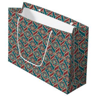 Grand Sac Cadeau Rouge foncé, motif ethnique turquoise, fleurs,