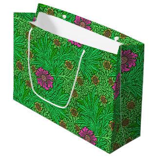 Grand Sac Cadeau Souci de William Morris, vert vert et fuchsia