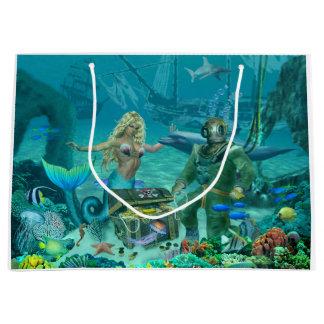 Grand Sac Cadeau Trésor du récif coralien de la sirène