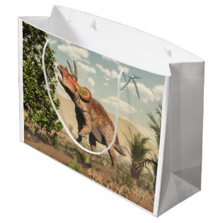 Grand Sac Cadeau Triceratops mangeant à l'arbre de magnolia - 3D