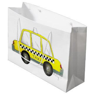 Grand Sac Cadeau Voiture Checkered jaune de cabine du taxi NYC New