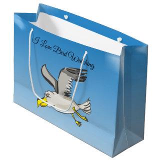 Grand Sac Cadeau Vol de mouette de bande dessinée aérien avec un