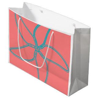 Grand sac de cadeau d'étoiles de mer roses de